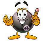 Royalty-free cartoon styled clip art graphic of a billiards 8 ball character